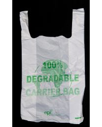 Degradable White Vest Carrier Bag - 23""