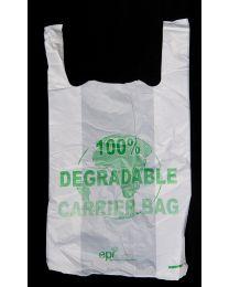 """Degradable White Vest Carrier Bag - 23"""""""