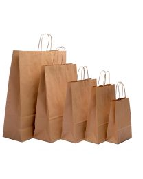 Jewellery Brown Kraft Twist Handle Carrier Bags
