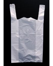 Large White Vest Carrier Bag - Leopard