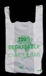 """Degradable White Vest Carrier Bag - 21"""""""