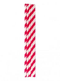 Paper Straws Red and White Striped